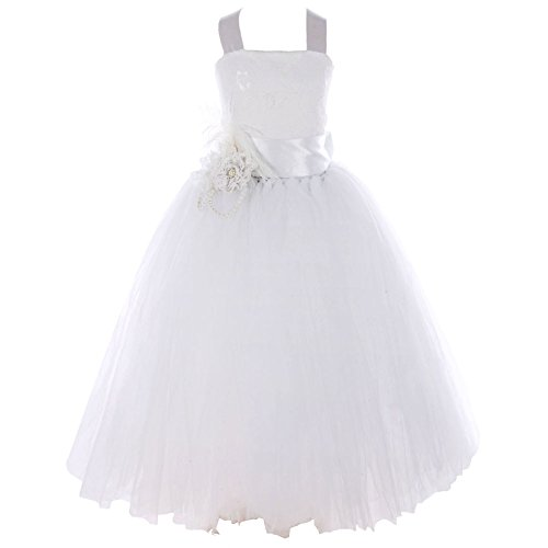 FAYBOX Pageant Wedding Flower Girl Dress Crossed Back Bow Feather Sash Fluffy 4 White