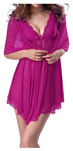 Fedo Design Women Sexy Bridal Lingerie Outfits Sleepwear Nightgown Teddy Shawl