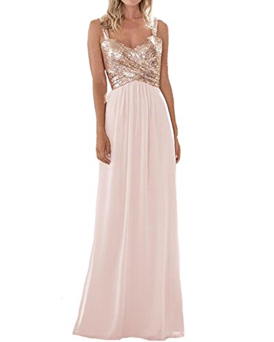 Firose Women's Sequined Sweetheart Backless Long Prom Bridesmaid Dress 14 Rosegold/Baby Pink