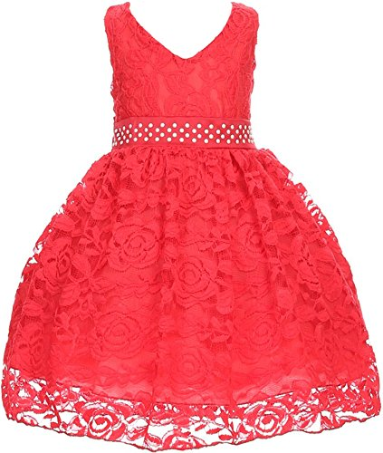 Flower Girl Dress V Neck Accented Spendax Lace for Baby & Infant Red 4T S30.38H