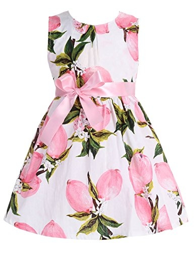 Fubin Kid Girl Floral Cotton Dresses Summer Clothes pink lemon Height 53''/5-6 years