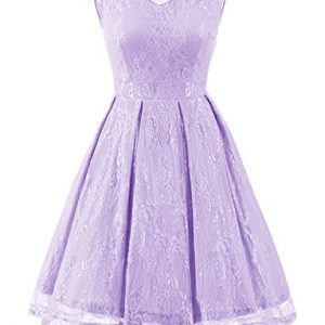Gardenwed Women's Retro Floral Lace High Low Homecoming Dress Cocktail Party Gown Bridesmaid Dress Lavender 2XL