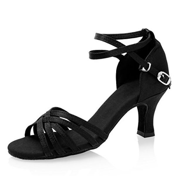GetMine Women's Professional Latin Dance Shoes Satin Salsa Ballroom Wedding Dancing Shoes 2.4'' Heel Black 7.5 B(M) US