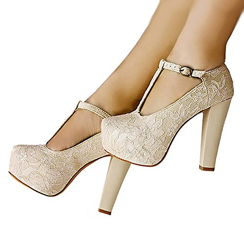 Getmorebeauty Women's Marty Janes T-STRAPPY Lace Women Dress Wedding Shoes 9 B(M) US