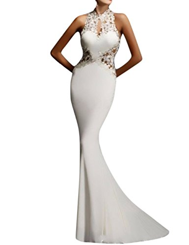 GlorySunshine Women's Sheath Sexy Lace Backless Mermaid Bridal Flare Dress White XL