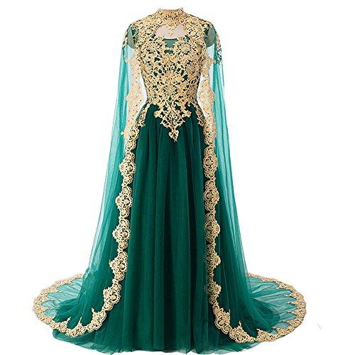 Gold Lace Vintage Long Prom Evening Dresses Wedding Gowns with Cape Emerald Green US 2