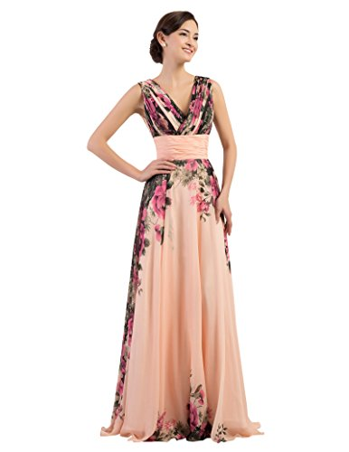 GRACE KARIN Floral Print Graceful Chiffon Prom Dress for Women (Multi-Colored),V-neck,16