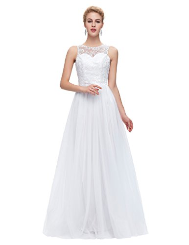 Grace Karin Women's Floor Length Lace Tulle Prom Ball Gowns CL6108-3 (2), White, size:2