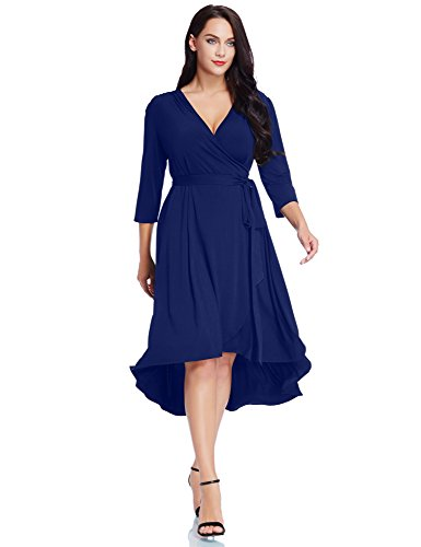GRAPENT Women's Plus Size Solid V Neck Knee Length 3/4 Sleeve Hi Lo True Wrap Dress Surplice Flared Skirt Royal Blue Size 0X