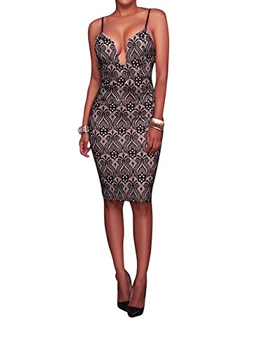 Halter Dress- Women's Sexy V-Neck Slim Halter Bodycon Dress, Knee Length Mini Dress With Size S, M, L And XL, Popular In Club, Party (X-Large)