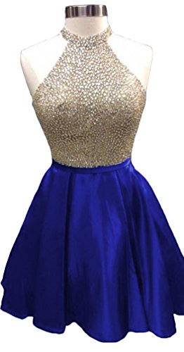 HEIMO Women's 2017 Sequined Keyhole Back Homecoming Dresses Beaded Prom Gowns Short H198 16 Royal Blue