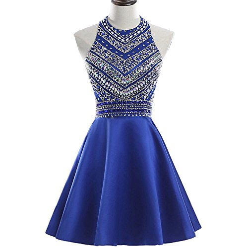 HEIMO Women's 2017 Sparkly Beaded Homecoming Dresses Sequined Prom Gowns Short H212 8 Royal Blue