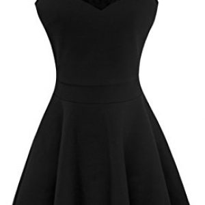 Heloise Women's A-Line Sleeveless Pleated Little Black Cocktail Party Dress With Floral Lace (M, Black)