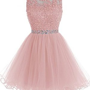 Himoda Lace Beaded Homecoming Dresses Sequined Appliques Cocktail Prom Gowns Short H010 10 Blush
