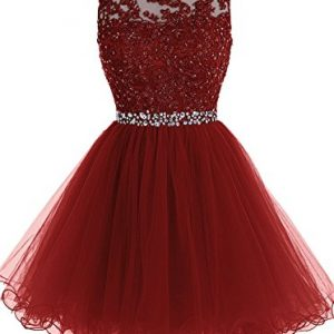 b06e5aa5d Himoda Lace Beaded Homecoming Dresses Sequined Appliques Cocktail Prom  Gowns Short H010 2 Burgundy
