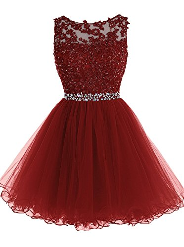 Himoda Lace Beaded Homecoming Dresses Sequined Appliques Cocktail Prom Gowns Short H010 2 Burgundy