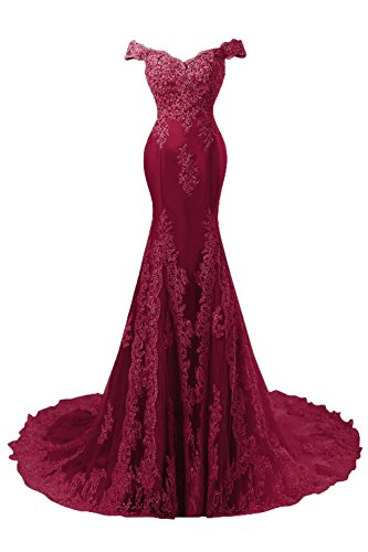 Himoda Women's V Neckline Beaded Evening Gowns Mermaid Lace Prom Dresses Long H074 8 Burgundy