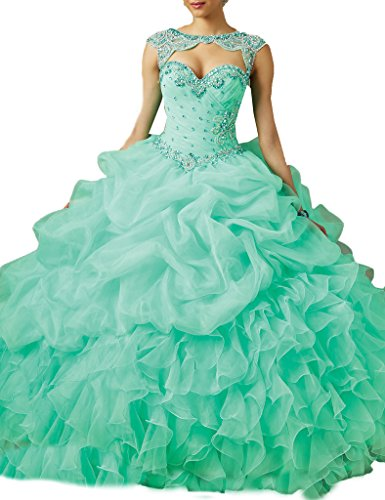 Ice Beauty Ball Gowns Beads Organza Vintage Quinceanera Dresses Party Gowns Mint US 2