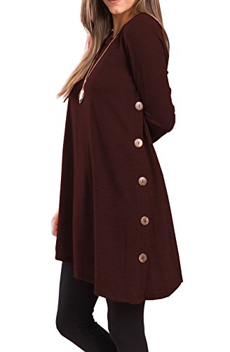 iGENJUN Women's Long Sleeve Scoop Neck Button Side Sweater Tunic Dress,XXL,Burgundy