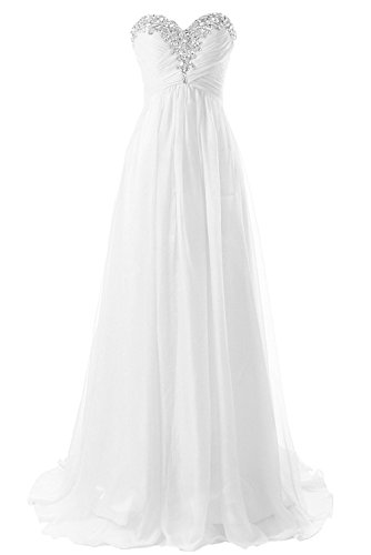 JAEDEN Strapless Beach Wedding Dresses Simple Bride Dress Chiffon Gown White US6