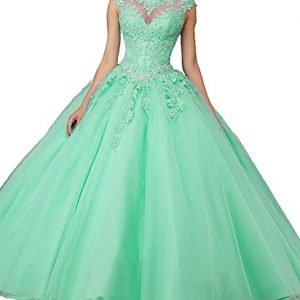 Jianda New Women's Girl's Boat Neck Floor Length Ball Gowns Quinceanera Dress 8 Mint Green