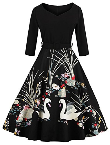 Joansam Women Print Vintage Church Dresses With Cap Sleeves For Special Occasion JS1338B-XL