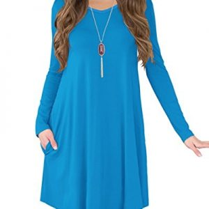 Jouica Women's Casual Swing Plain T-shirt Long Sleeves Dresses (Blue M)