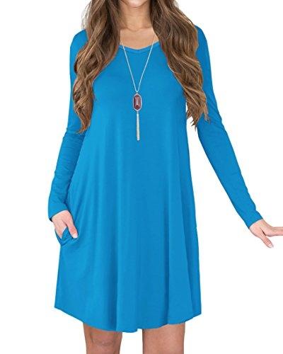 Jouica Women's Casual Swing Plain T-shirt Long Sleeves Dresses (Blue M)