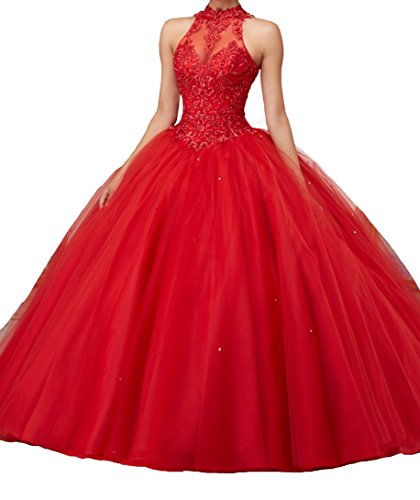 Jurong Women's Appliques High Neck Beads Long Pageant Quinceanera Dresses 8 US Red