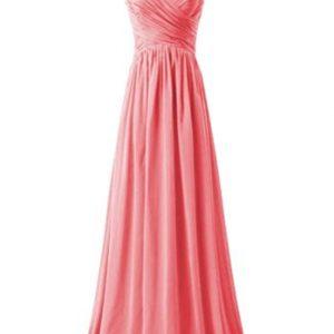 KARMA PROM Women's Chiffon V-neck Sleeveless Prom Dress Simple Bridesmaid Dress Coral us17w