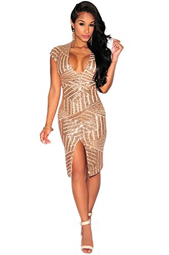 Kearia Women Short Sleeve Deep V-Neck Sequin Split Bodycon Cocktail Party Dress Gold Large