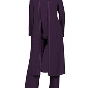 Kelaixiang Long Sleeves Mother of the Bride Pant Suits Plus Size 3 Pieces (12, Plum)