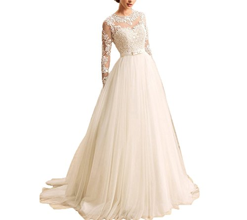 Kevins Bridal Women's A-Line Wedding Dresses 2017 Long Lace Bridal Gowns Sleeves Light Champagne Size 6