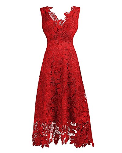 KIMILILY Women's V Neck Elengant Floral Lace Swing Bridesmaid Dress(R,S)