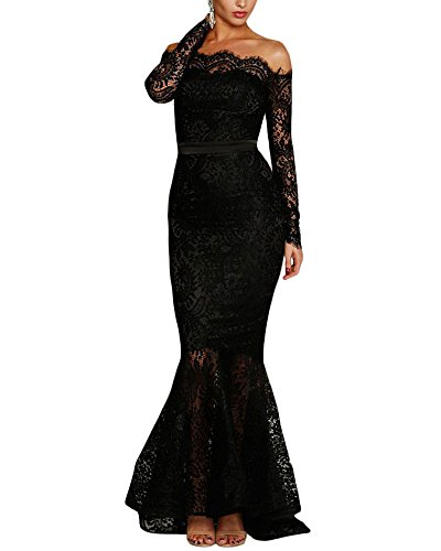 Lalagen Women's Floral Lace Long Sleeve Off Shoulder Wedding Mermaid Dress Black M