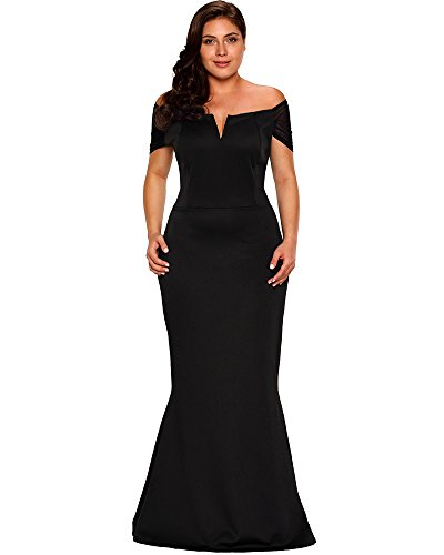 Lalagen Women's Plus Size Off Shoulder Long Formal Party Dress Evening Gown size XXL (Black)