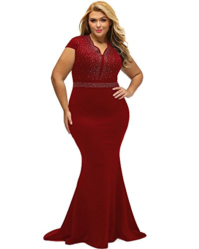 Lalagen Women's Short Sleeve Rhinestone Plus Size Long Cocktail Evening Dress Red XXXL