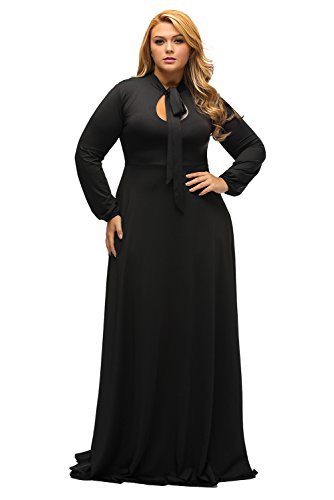 factory price 50-70%off best place for Lalagen Women's Vintage Long Sleeve Plus Size Evening Party Maxi Dress Gown  Black XXXL