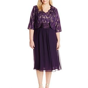 Le Bos Women's Plus-Size Scallop Lace Jacket and Dress Set, Eggplant, 16W
