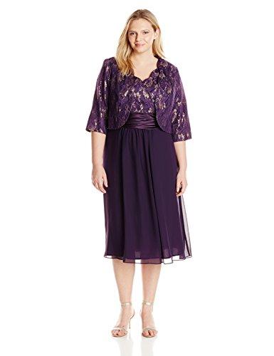 Le Bos Women's Plus-Size Scallop Lace Jacket and Dress Set, Eggplant, 16W