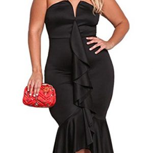 Leindr Women's Plus Size Off Shoulder Cascading Ruffle High Low Mermaid Hem Evening Gown Party Bodycon Club Midi Dress Black Size XXL 18 20