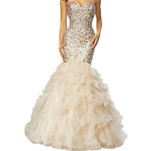 Lemai Crystals Long Mermaid Ruffles Beaded Sweetheart Corset Formal Prom Evening Dresses Beige US 8
