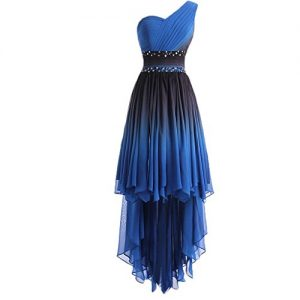 Lemai High Low Little Black Beaded Prom Homecoming Cocktail Dresses Gradient Blue Plus Size US 20W