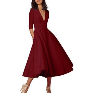 Lielisks Women's Party Dress Vintage Deep V neck Half Sleeve Zip Back Swing Dress Wine S