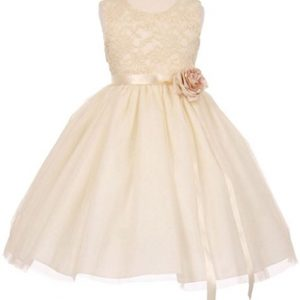 Little Girls Elegant Contrast 3D Lace Tulle Flowers Girls Dresses Ivory Size 4