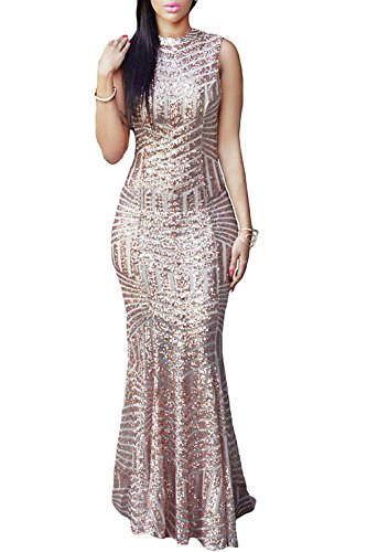 LOSRLY Womens Sequin Maxi Long Party Cocktail Club Formal Evening Prom Mermaid Dress Prime Gold L 12 14