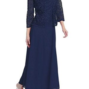 Love My Seamless Womens Long Mother Of The Bride Plus Size Formal Lace Dress With Jacket (2X, Navy)