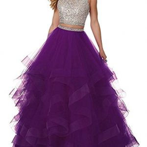 Lowime Women Sexy Beaded Two Piece Prom Dresses Long Asymmetric Layered Tulle Formal Prom Ball Gowns P005 Purple 18W
