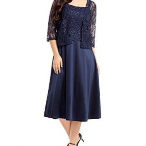 Luvamia Women's Two Piece Lace Sequin Mother of The Bride Midi Dress with Jacket Navy Blue Size XX-Large (US 20-22)
