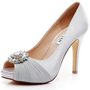 LUXVEER Wedding Shoes Combining Satin Lace and Rhinestone Brooch High Heel 4.5inch-Peep Toe-EUR35 (6.5, Silver)